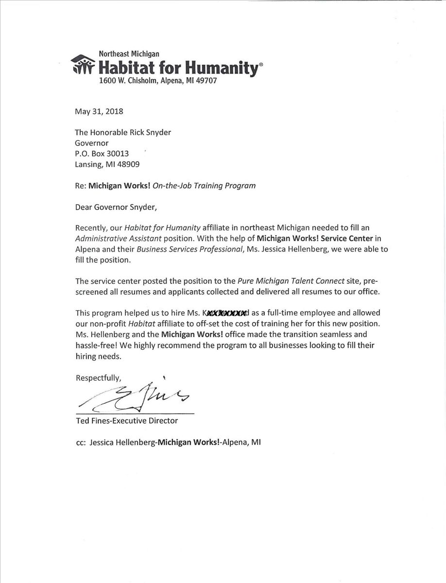 Image of Habitat for Humanity Letter to Governor