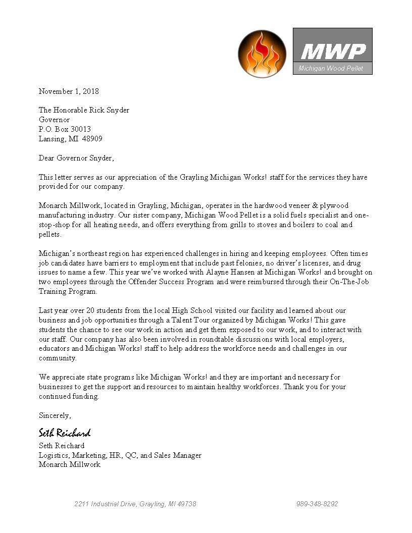 Monarch Millworks Writes Letter of Support - Discover Northeast Michigan