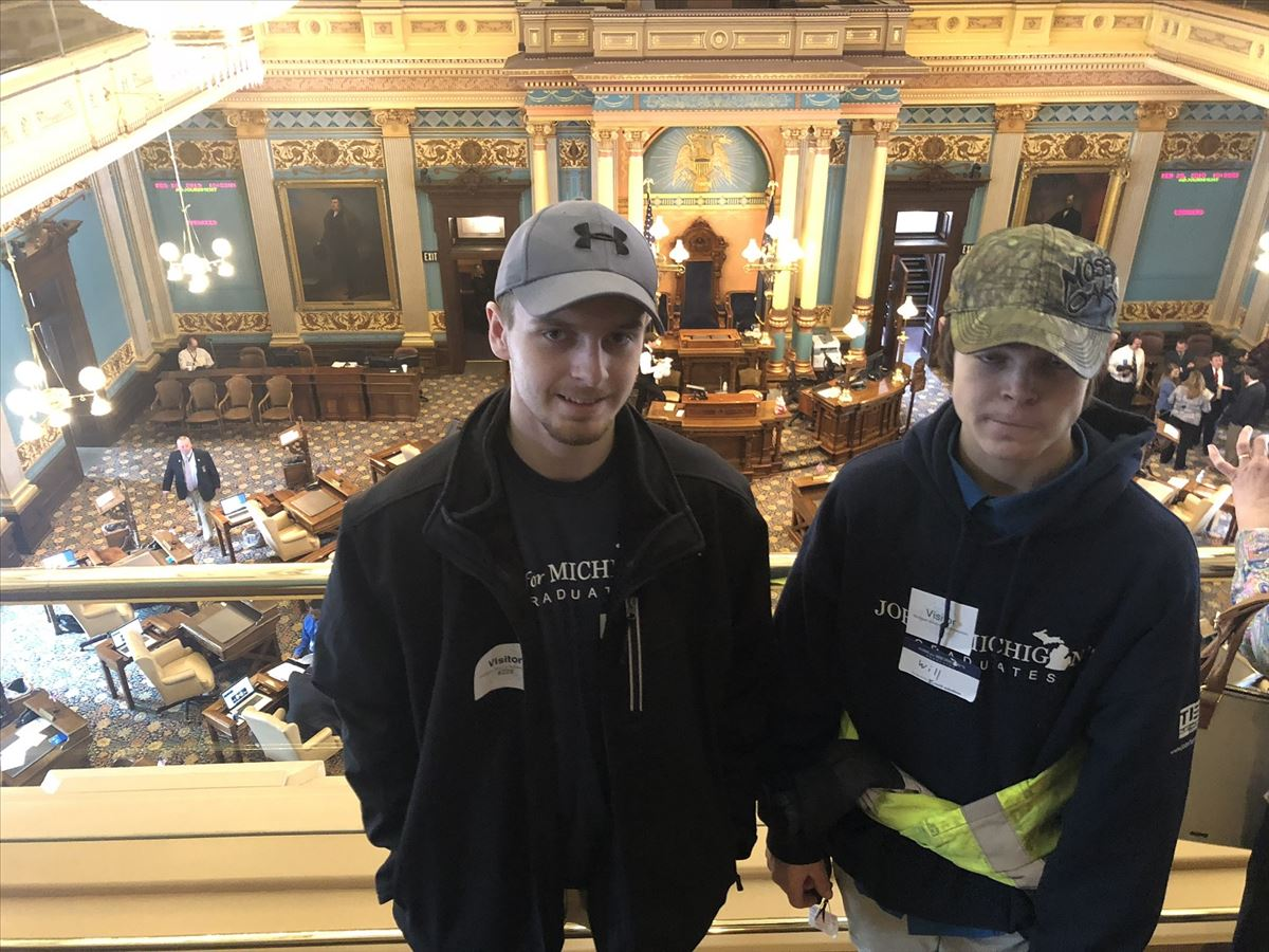 JMG Students Will Coggins and Trentin Montgomery attend Legislative Day in Lansing